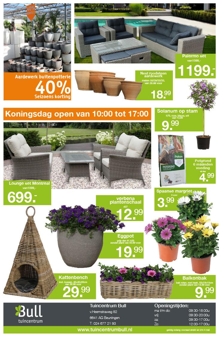 koningsdag akties, terrasplanten en zomerbloeiers